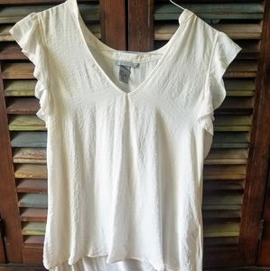 White flutter sleeve high low top